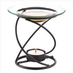 Oil Warmer Spiral Base Supports A Clear Glass Dish
