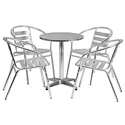 Round Aluminum Indoor-outdoor Table Set With 4 Slat Back Chairs