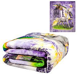 Plush Throw Blanket - Unicorn Castle - Queen Bed