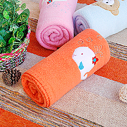 White Whale - Orange Embroidered Applique Coral Fleece Baby Throw Blanket