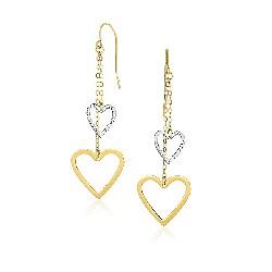 10k Two-tone Gold Cutout Heart Chain Dangling Earrings