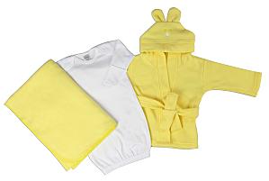 Neutral Newborn Baby 3 Pc Set (gown, Robe, Fleece Blanket)