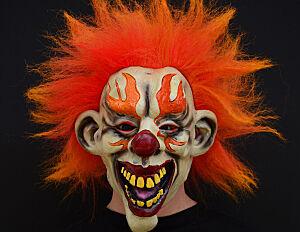 Flamed clown halloween mask